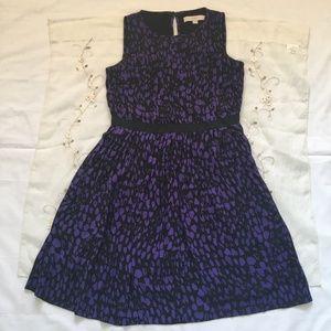 Purple Sleeveless Animal Print Pleated Dress
